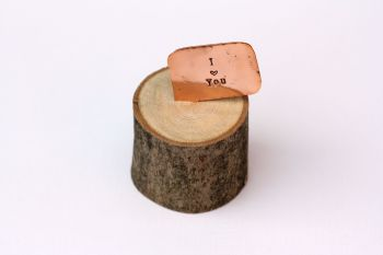 Wooden Log & Copper Quote Display - I