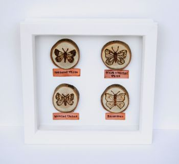 Wooden Framed Four Insects Wall Decor - Butterflies & Moths