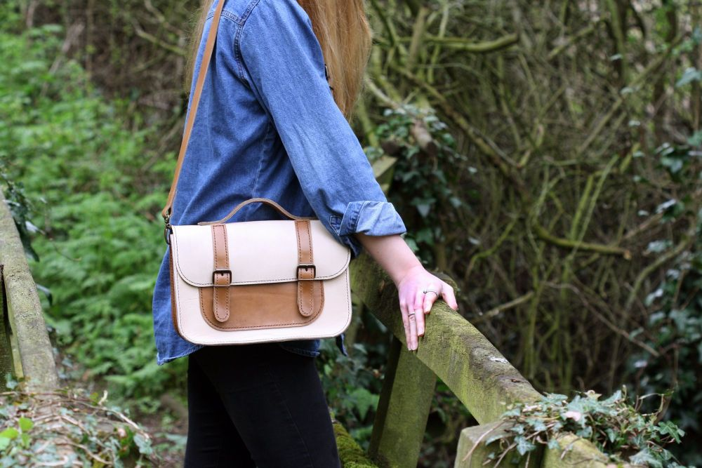 Genuine Hand Stitched Leather Satchel - Cream & Brown Mix