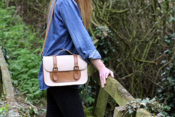 Genuine Hand Stitched Leather Satchel - Thick Cream & Tan Brown Mix