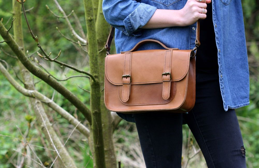 Genuine Hand Stitched Leather Satchel - Thick Tan Brown