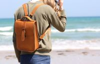 Genuine Hand Stitched Leather Backpack - Thick Tan Brown