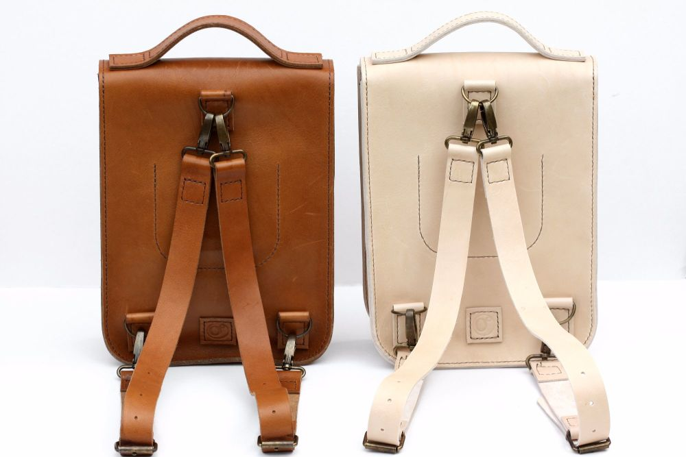 Cream & Tan Backpacks back