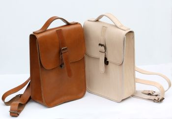 Cream & Tan Backpacks front