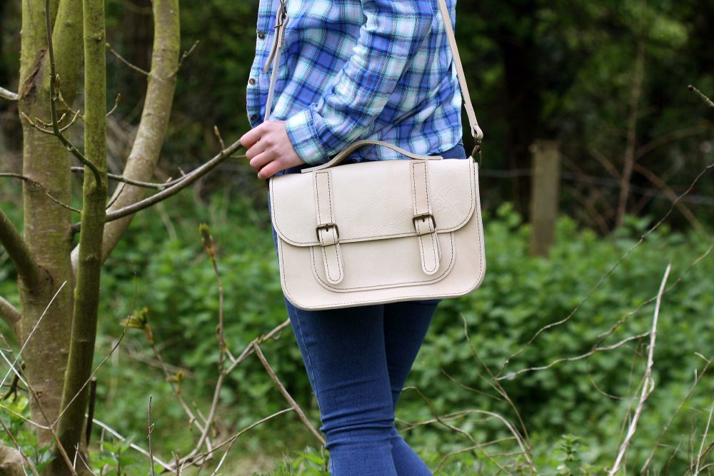 Genuine Hand Stitched Leather Satchel - Cream