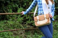 Genuine Hand Stitched Leather Satchel - Thick Tan Brown & Cream Mix
