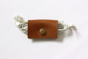 Genuine Handmade Leather Cable Tidy - Thick Tan Brown