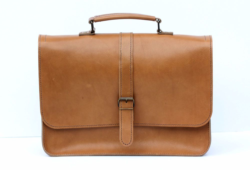 532ceb68a66e Genuine Hand Stitched Leather Laptop Bag / Man Bag - Thick Tan Brown