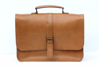 Genuine Hand Stitched Leather Laptop Bag / Man Bag - Thick Tan Brown