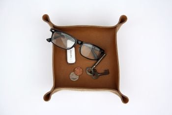 Genuine Handmade Tan Brown Leather Coin / Valet / Planter Tray - Personalised Gift
