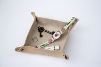 Genuine Handmade Natural Cream Leather Coin / Valet Tray - Personalised Gift