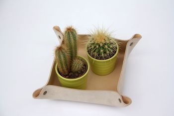 Genuine Handmade Natural Cream Leather Coin / Valet / Planter Tray - Personalised Gift
