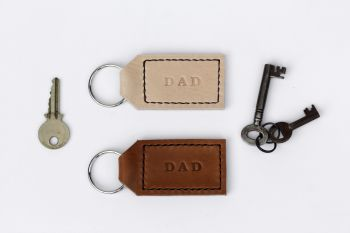 Handmade Leather Personalised Key Ring Gift for Dad - Thick Tan & Cream