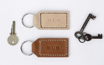 Handmade Leather Personalised Key Ring Gift for Mum - Thick Tan & Cream