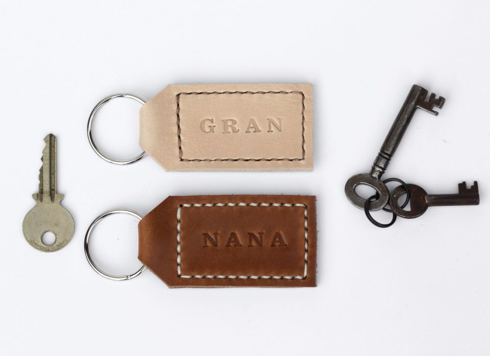 Handmade Leather Personalised Key Ring Gift for Nana / Gran - Thick Tan & C