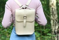 Genuine Hand Stitched Leather Backpack - Thick Cream