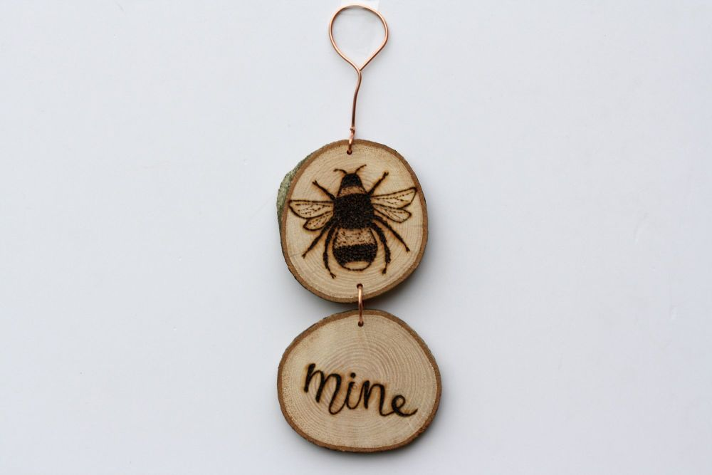 Hanging Wood Slice & Copper Bee Mine Decoration - Valentine's Gift