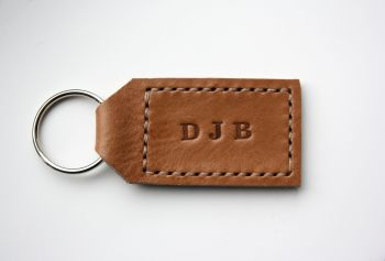 Handmade Leather Personalised Initials Key Ring Gift - Thick Tan & Cream