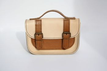 Genuine Hand Stitched Mini Leather Satchel - Thick Cream & Tan Brown Mix