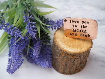 Wooden Log & Copper Quote Display - Love you to the Moon