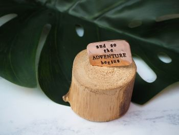 Wooden Log & Copper Quote Display - Adventure