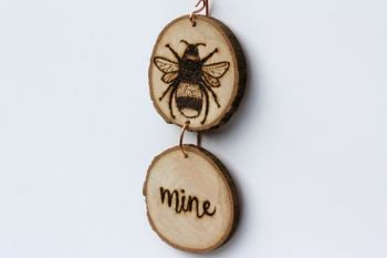 Hanging Wood Slice & Copper Bee Mine Wall Decoration 3