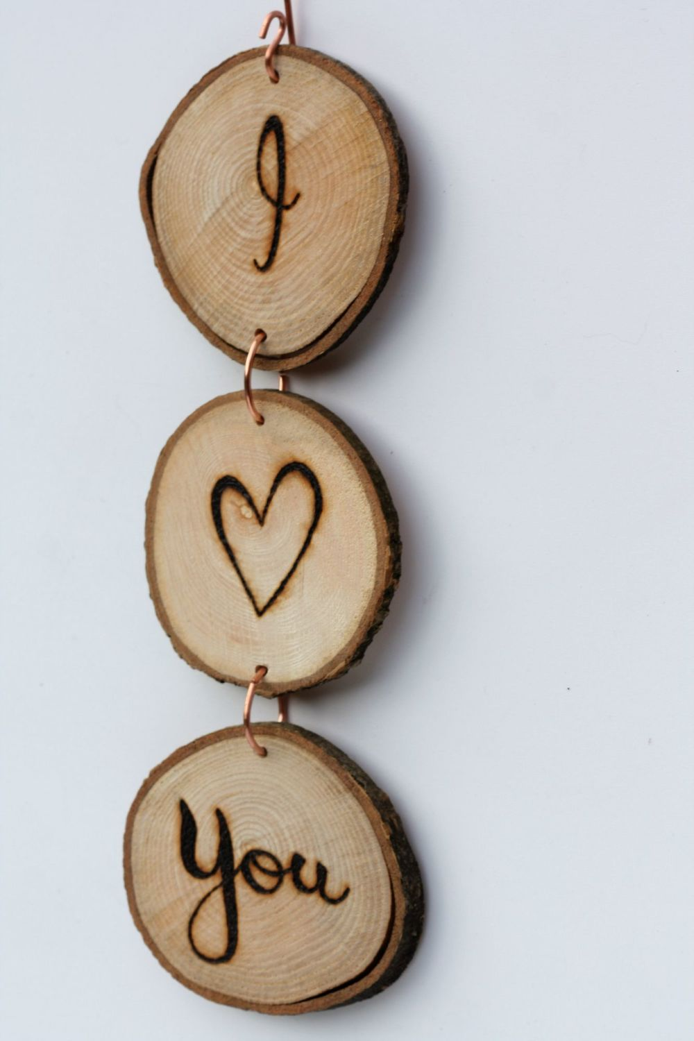 Hanging Wood Slice & Copper I <3 You Wall Decoration 2
