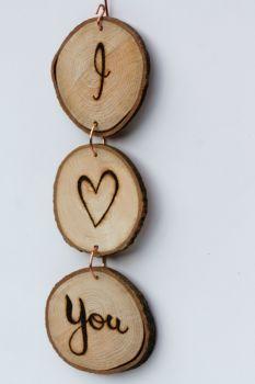 Hanging Wood Slice & Copper I