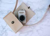 Genuine Hand Stitched Leather Camera Bag - Cream