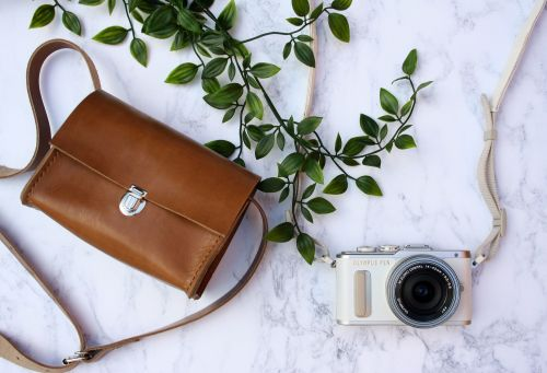 Tan Brown Leather Camera Case 3
