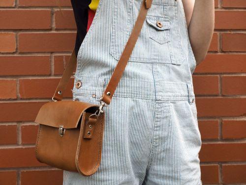 Brown Leather Shoulder Utility Bag 4