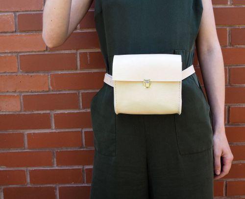 Cream Leather Waist Bag Utility 2