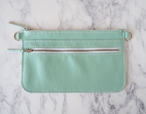 Mint Green Leather Zip Bag