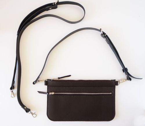 Dark Brown Leather Zip Bag 7