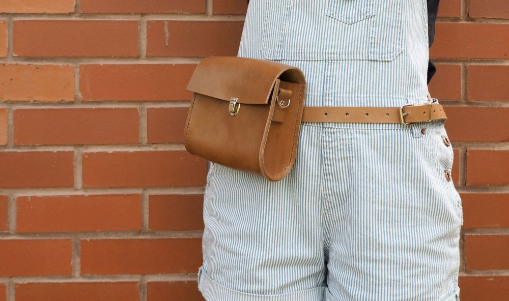 Genuine Hand Stitched Leather Utility Belt Bag - Tan Brown