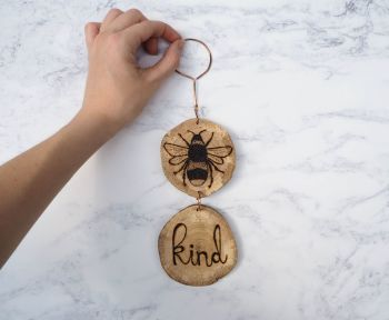Hanging Wood Slice & Copper Bee Kind Wall Decoration 2