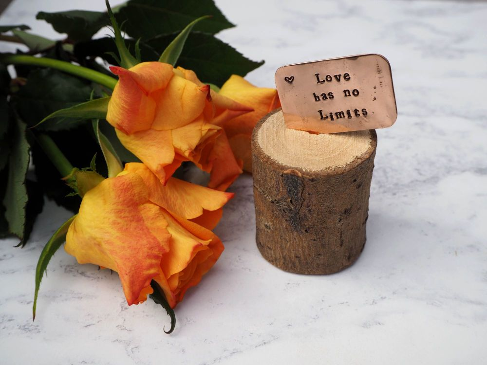 Wooden Log & Copper Quote Display - Love has no Limits 2