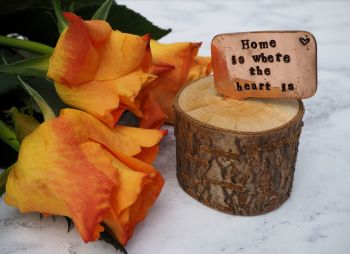 Wooden Log & Copper Quote Display - Home & Heart