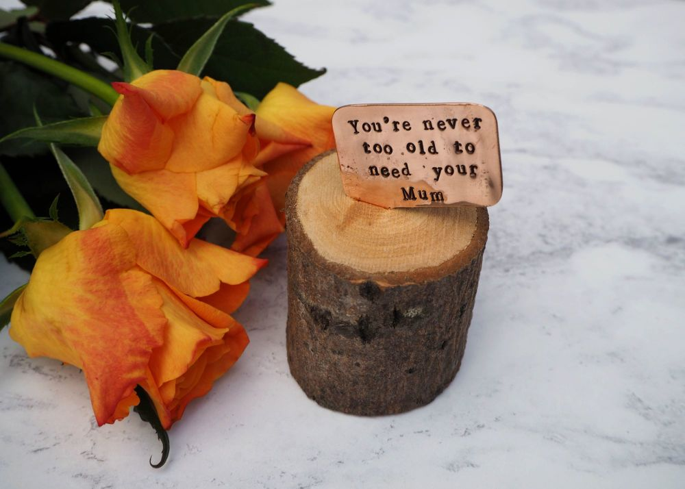 Wooden Log & Copper Quote Display - Never too old to need your Mum 2
