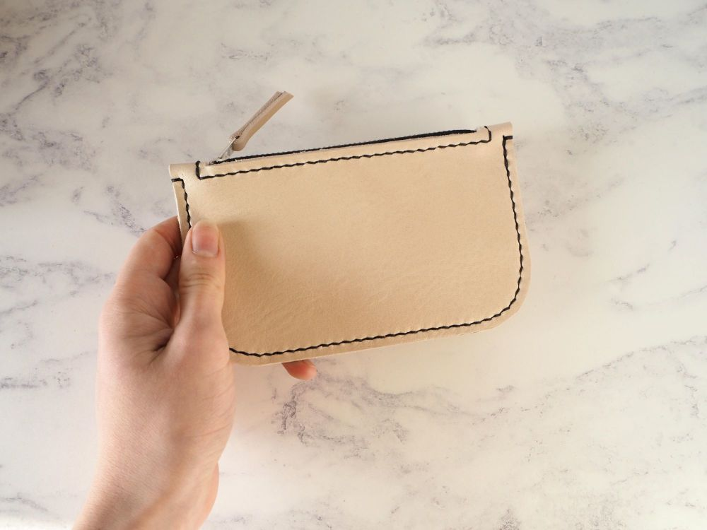 Genuine Hand Stitched Leather Zip Purse - Thick Natural Cream