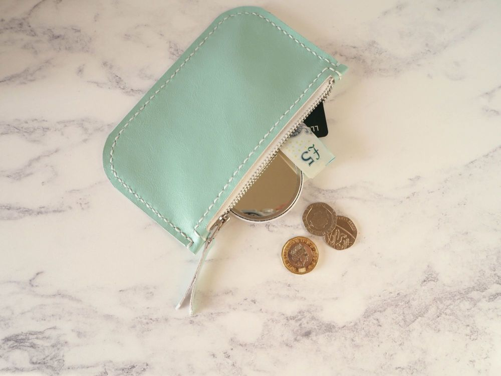 Genuine Hand Stitched Leather Zip Purse - Mint Green