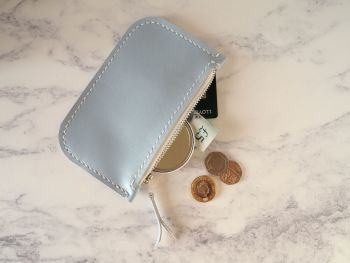 Genuine Hand Stitched Leather Zip Purse - Pastel Blue