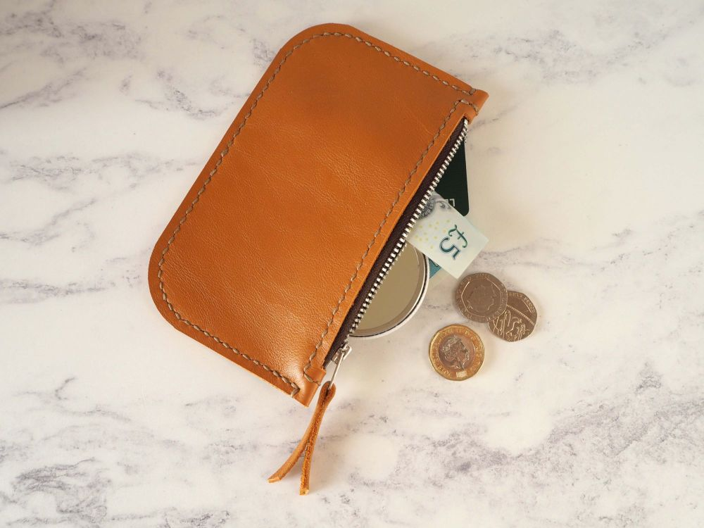 Genuine Hand Stitched Leather Zip Purse - Orange