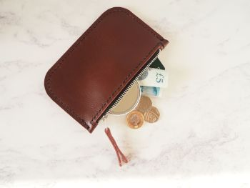 Genuine Hand Stitched Leather Zip Purse - Oxblood Red