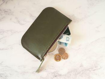 Genuine Hand Stitched Leather Zip Purse - Khaki Green