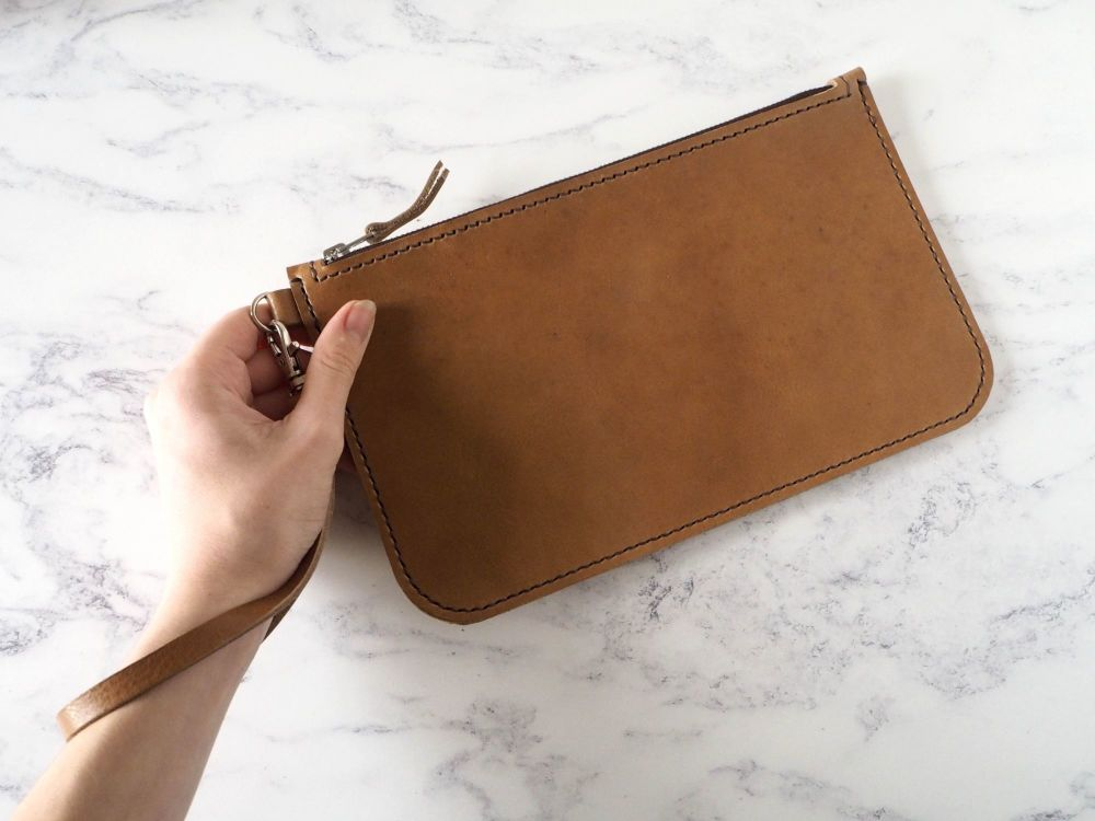 Genuine Hand Stitched Leather Wristlet Clutch Bag - Thick Tan Brown