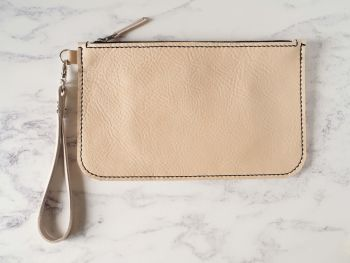 Genuine Hand Stitched Leather Wristlet Clutch Bag - Thick Natural Cream