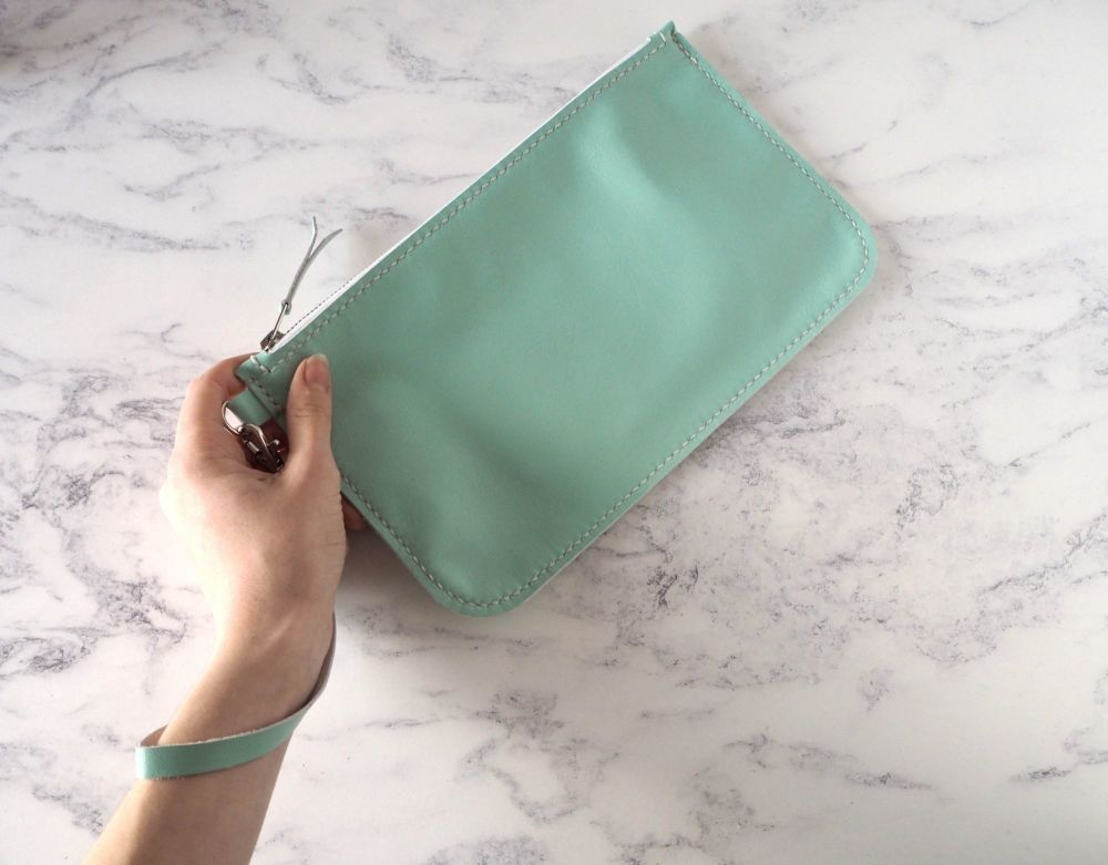 Genuine Hand Stitched Leather Wristlet Clutch Bag - Mint Green