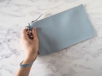 Genuine Hand Stitched Leather Wristlet Clutch Bag - Pastel Blue