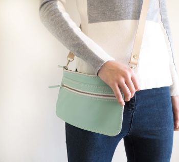 Genuine Hand Stitched Leather Zipped Waist & Shoulder Bag - Mint Green